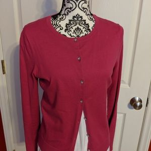 Loft Hot Pink cardigan with crystal buttons M